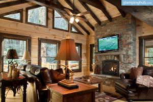 Traditional Log Cabin Nestled in Lush Greenery in Nantahala National Forest
