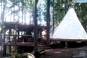 Secluded Tipi in Wilderness of British Columbia, Canada