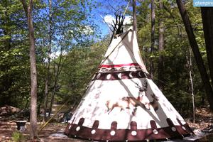 Authentic Sioux Tipi by Waterfall in Upstate New York