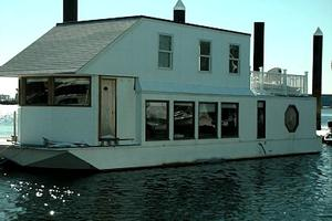 Unique Houseboat Docked in Boston Harbor