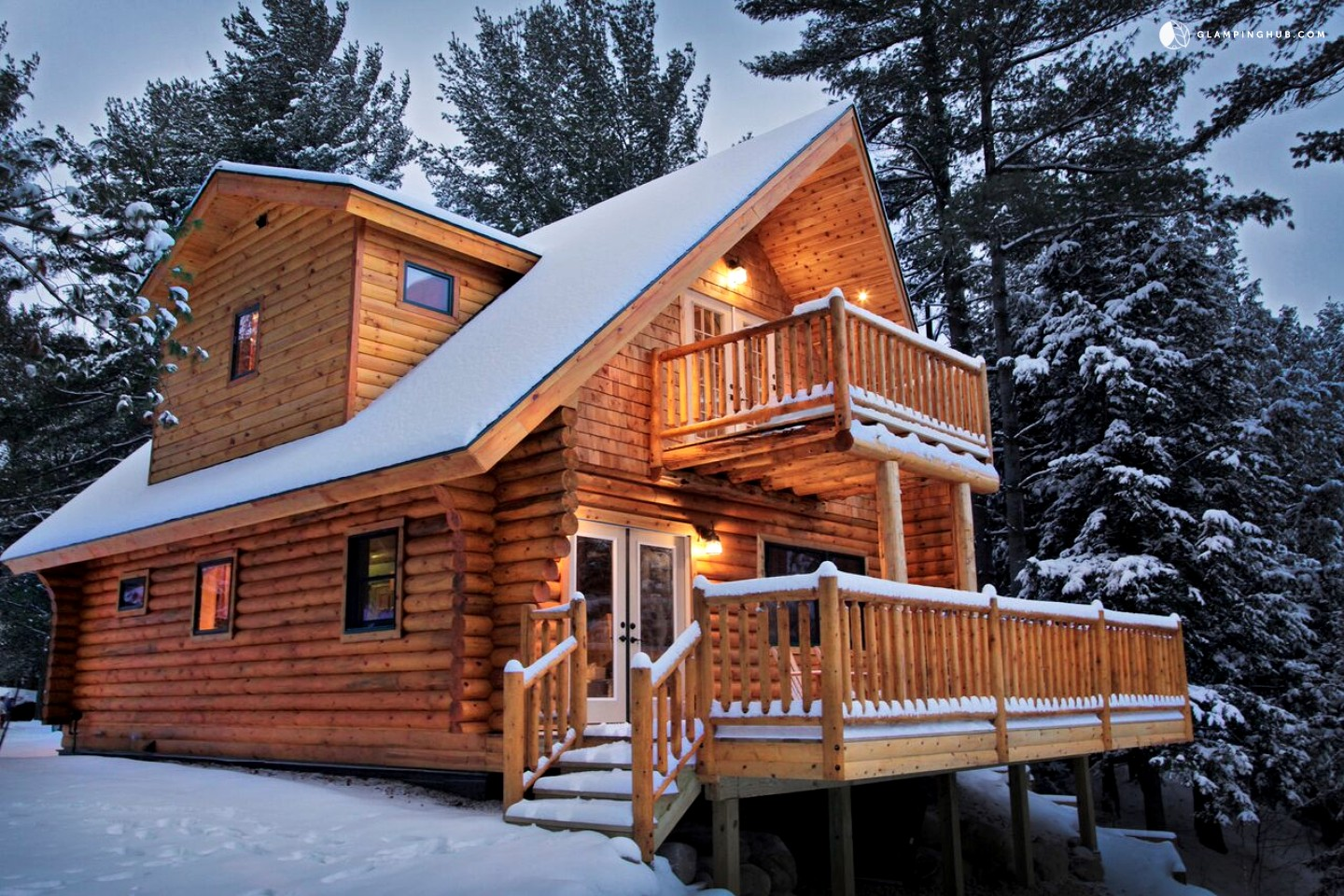 Log Cabin With Jacuzzi In The Adirondacks. Full resolution  snapshot, nominally Width 1440 Height 960 pixels, snapshot with #9C552F.