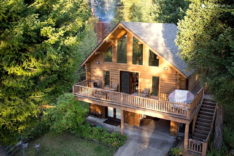 Log cabin rental on flathead lake montana for Log cabins rentals