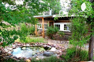 Log Casita Overlooking Pond & Waterfall near Taos, New Mexico