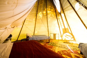 Luxury Tipis in Ancient Desert Hills of the Mojave Desert, Death Valley, California