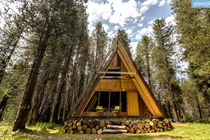 Sophisticated A-Frame Cabins Above Bass Lake, California