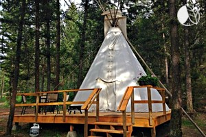 Spacious Tipis on Elevated Decks in Woodlands near Kamloops, British Columbia