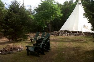 Cozy Tipi and Tent on Peaceful Secluded Island in Ontario, Canada